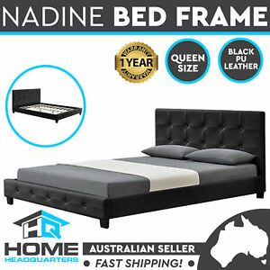 Nadine Queen Size Bed Frame | Black Leather