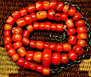 ANCIENT RED CORAL BEADS NECKLACE  TIBETAN NATURAL CORAL BEADS 16""