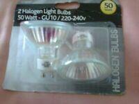 2 HALOGEN LIGHT BULBS - 50 WATT - GU10/220.240V