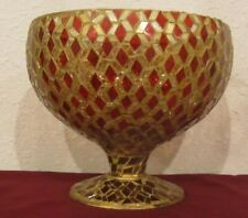 Bowl Vase Mosaic Red Diamond Shaped Glass Pieces India 8 in diameter