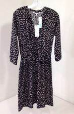 COLLECTIVE CONCEPTS WOMEN'S THELIA FAUX WRAP KNIT DRESS BLACK/GRAY MED NWT $84