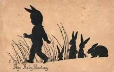 Bye Baby Bunting Nursery Rhyme Silhouette Bunny Rabbits Postcard JH231045