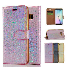 Bling Glitter Magnetic Leather Flip Case Wallet Cover For iPhone Samsung Huawei