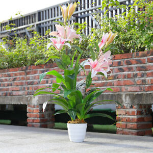 3FT Artificial Potted Lily Flowers Large Plant Garden Outdoor Home Office Decor