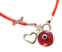 RED STRING KABBALAH BRACELET WITH RED EVIL EYE CHARM & STERLING SILVER HEART