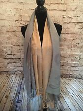 Silk Pashmina Women's Long Scarf, Blue And Tan Scarf With Tassels On Each End