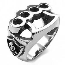MENDINO Men's Stainless Steel Ring Skull Finger Knuckle Duster Boxing Glove Band