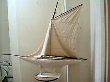"Antique Vintage Toy Model Wooden Pond Yacht Sail Boat Sailboat Ship 29"" BY 33"""
