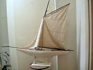 """Antique Vintage Toy Model Wooden Pond Yacht Sail Boat Sailboat Ship 29"""" BY 33"""""""