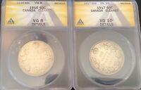 Lot of 2 Canada silver half dollars.  1916 & 1917 both VG condition.