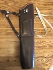 """VINTAGE Traditional ARCHERY LEATHER TARGET ARROW QUIVER 1950s 18"""" w strap bow"""