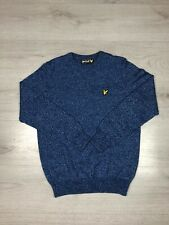 Lyle And Scott Mens Wool Blend Crew Neck Jumper Sweater Blue Size Small VGC