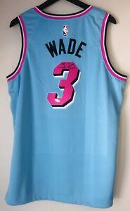 """Dwyane Wade Signed Miami """"Vice"""" Heat Nike Autographed NBA City Jersey FANATICS"""