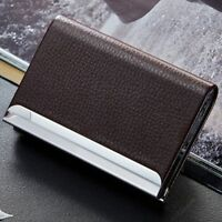 Id Popular Mini Credit Aluminum Leather Business Holder Card Case Box Wallet