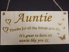 """""""Thanks Auntie"""" Family Wooden Gift Plaque family love Sign Rustic thankyou aunt"""