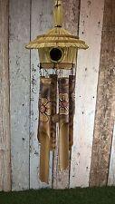 BIRD HOUSE WIND CHIME, Burnt/Painted Flowers, bamboo windchime, Handmade 50cm