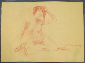 Hand-Drawn/Original 1930 Art Album of Pinup/Nude Sketches - French - Pin Up