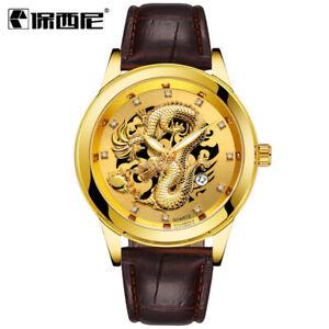 Mens Luxury Business Gold Dragon Diamond Design Waterproof Quartz Watch