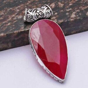"Ruby Ethnic Handmade Pendant Jewelry 2.4"" AP 41390"
