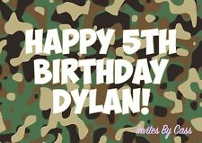 CAMOUFLAGE CAMO ARMY A4 EDIBLE IMAGE CAKE TOPPER BIRTHDAY PARTY KIDS