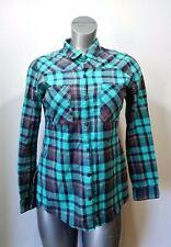 Fox Racing Womens Medium Blue Teal Plaid Long Sleeve Button Front Flannel Shirt