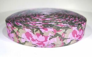 """5 yards of 7/8 inch """"pink camouflage"""" grosgrain ribbon"""