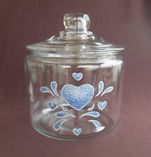 Corning Corelle BLUE HEARTS Glass COOKIE JAR
