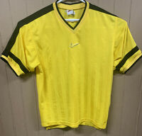 Vintage Nike Jersey Shirt; Mens Large; Yellow Black; Swoosh Logo; Embroidered