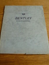 VERY NICE,BENTLEY CONTINENTAL S3 BROCHURE PACK