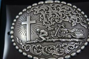Nocona Western Belt Buckle Motorcycle  Man at Cross Praying 37972