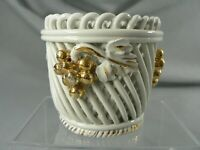 Signed Ed Langbein Italy Woven Lattice Bowl with Grapes Italian Art Pottery