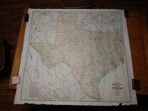 1912 Map of Texas. Railroad and County. Woodward & Tiernan. BIG! 48x45.Original