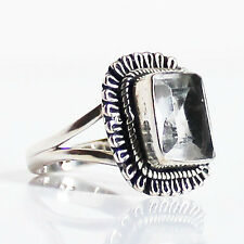 Chunky Faceted Quartz Semi-Precious Stone 925 Solid Silver Ring - Size 7