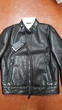 NWB $5980 DSQUARED2 LEATHER + SHEARLING LINED BIKER JACKET 42 MADE IN ITALY