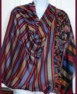 Pashmina Silk Blend Multi color Striped Shawl, Stole,Wrap with Floral Border!