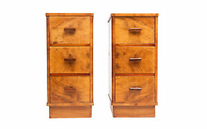 Antique Pair of Art Deco Walnut Bedside Chests Tables