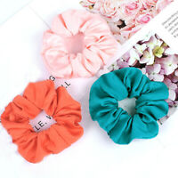 Solid Color Satin Elastic Scrunchie Sports Casual Hair Ties Ponytail Hair Rings