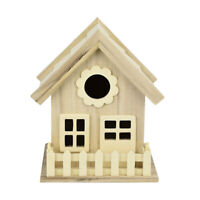 Wooden House Shape Bird Nest Breeding Nesting Birdhouse Box Garden Decoration