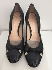 "AUTHENTIC ITALY CASADEI BLACK LEAHTER W/ PATENT TOE & BOW 3"" PUMPS 37 7"