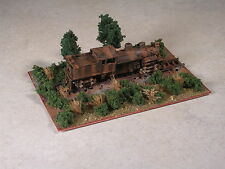N Scale rusted out logging shay locomotive.up on ties diorama.