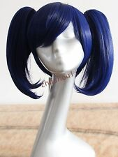 New dark blue short hair plus two ponytails Cosplay Wig Free shipping