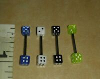 Dice Tongue Rings Barbells 14G Surgical Steel Barbell Acrylic Lot of 4. 008