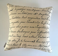 """Odessa"" Black/Off White Vintage French Provincial Cushion Cover Script Bicycle"