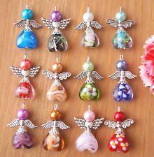 12 Angel Charm Pendant Lampwork Heart Beads COLORS MAY VARY Xmas Tree Decoration