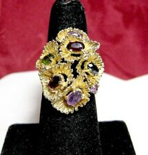Cluster Rare Elegant Ring Size 5.75 14K Yellow Gold Multi Color Gem Stones