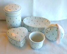 Vtg Raj Japan 8 Piece Bathroom Set Soap Dish Jar Multi-Colored Flowers Candle