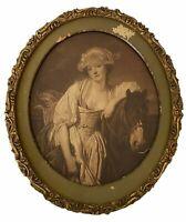 Antique Oval Frame Wood Gesso Gold 11 x 13 Edwardian Lady w Horse Print Shabby