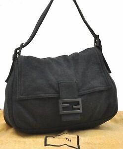 Authentic FENDI Mamma Baguette Shoulder Bag Canvas Leather Gray A8258