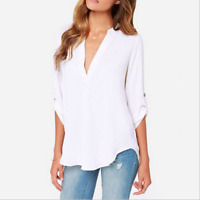 Summer Women Loose V Neck Chiffon Long Sleeve T-Shirt Blouse Casual Collar Tops