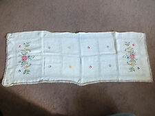 Embroidered Table Runner Doily White Multi Crochet Trim CrossStitch 40 x 15 Inch